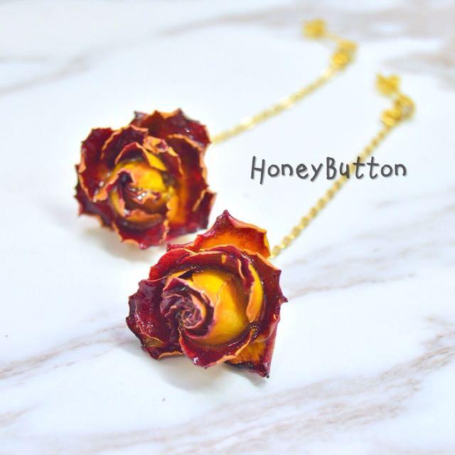 手作-「永生玫瑰」純銀鍍14k金x乾燥玫瑰垂墜耳環