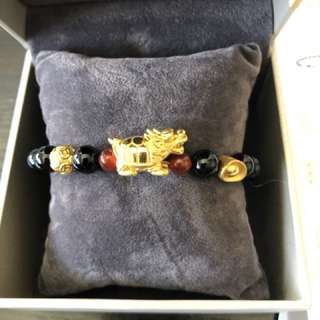 Goldheart 999 Real Gold Pixiu and agate bracelet
