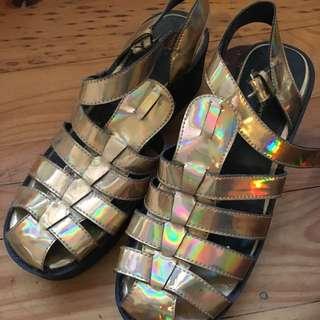 WINDSOR SMITH Gold Holographic Shoes