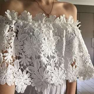Crochet White Playsuit