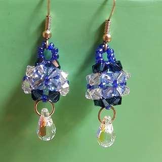 Handmade Blue Swarovski Earrings