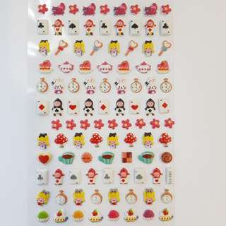 Soft and cushiony stickers (alice in the wonderland)