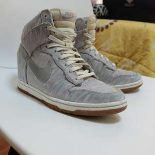 Nike dunk sky high prm silver wedge trainers