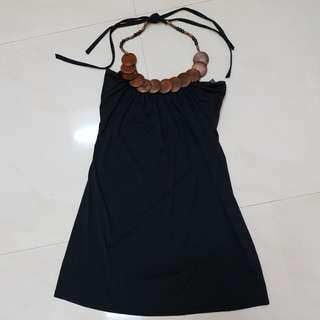 Retro Halter Black Dress