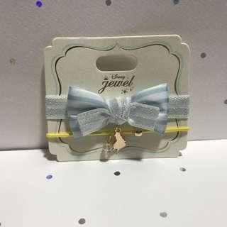 包郵 Disney Alice 迪士尼 愛麗絲 粉藍色 間條 蝴蝶結 黃色 幼 橡筋 橡根 頭飾
