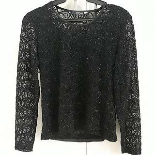 SALE! Bianca sparkly black lace top