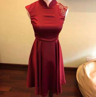 New doublewoot maroon cheongsam dress