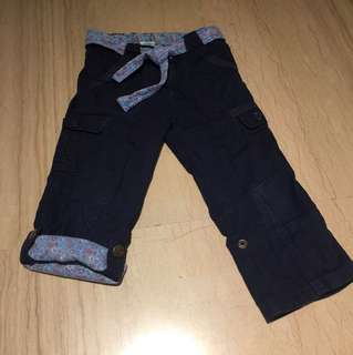 Pumpkin Patch flowery navy cargo pants not jeans with matching belt adjustable length