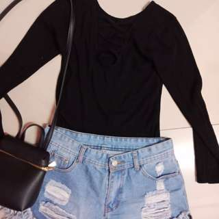 Criss cross top and Hw denim short