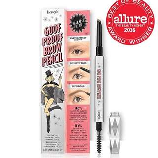 BENEFIT GOOF PROOF BROW PENCIL SAMPLE SIZE .03g Shade 2/6 ***HIGHLY RECOMMENDED BY COSMOPOLITAN KOREA!!! 豐盈眉筆 簡單易用,填補空隙,締造立體濃眉