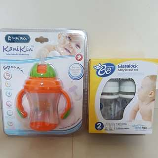 Baby bottle set n straw cup