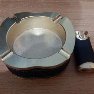 Black Gold Ashtray + Gas Lighter