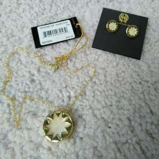 Pearl Stud Earrings and Pendant Necklace