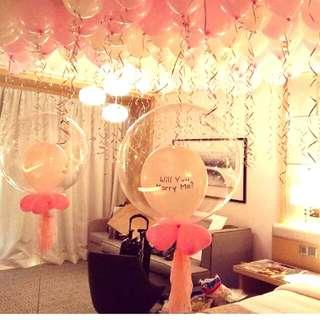 Surprise birthday hotel room balloons surprise