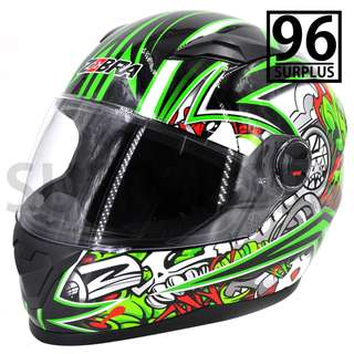 SURPLUS96 FF-868 ZEBRA GRAFITTI STYLE FULL FACE HELMET