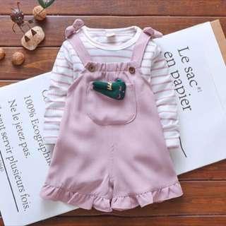 Baby girl romper shirt set