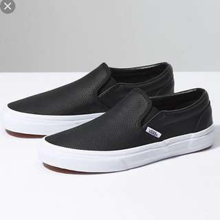 Authentic Vans perforated black leather slip ons