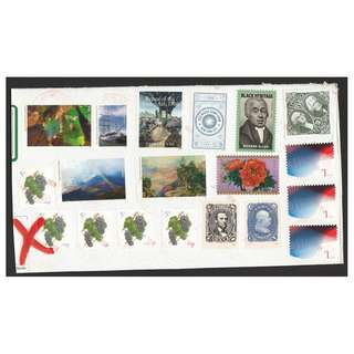 UNITED STATES 1994 WASHINGTON & JACKSON $5.00 & 2016 NATIONAL PARK ETC. 19 STAMPS USED ON PAPER
