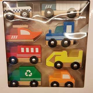Brand New: 10 Pieces Wooden Vehicle Set