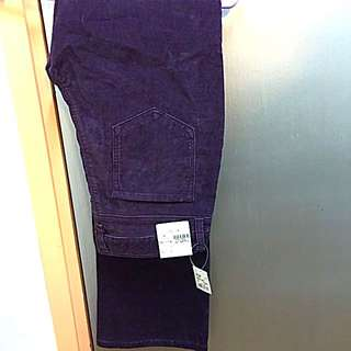 Brand New TOPVALU Dark Purple Cord Long Pant 全新深紫色燈蕊絨長衭