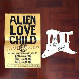 Eric Johnson Signed Strat pickguard + Poster I grabbed at the club where the CD Live and Beyond was recorded in