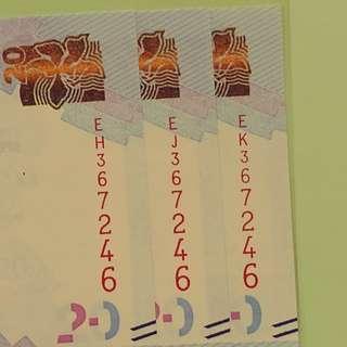 🔴 3張。同號。中銀$20 直版 UNC