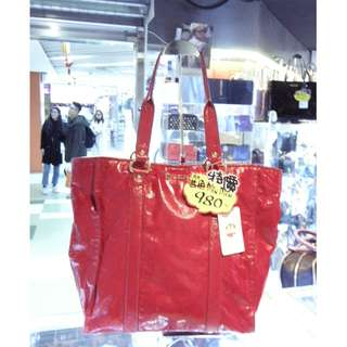 Miu Miu Red Leather Shoulder Shopping Tote Hand Bag MiuMiu 繆繆 紅色 漆皮 手挽袋 手袋 肩袋 購物袋 袋
