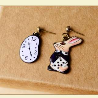 Alice in the Wonderlane rabbit mismatched earrings -- 1 pair only!!