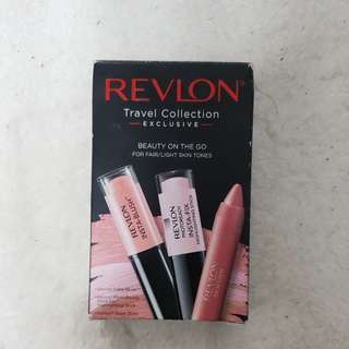 Relvon Blusher, Highliter and Lipstick travel set