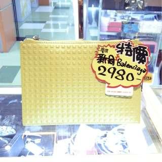 Balenciaga Yellow Leather Small Size Pouch Clutch Hand Bag 巴黎世家 黃色 牛皮 皮革 手抓包 手拿包 手袋 袋