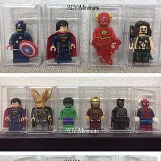 Minifigs with acrylic box Avengers and Justice League