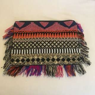 Talisman Beaded Fringe Clutch
