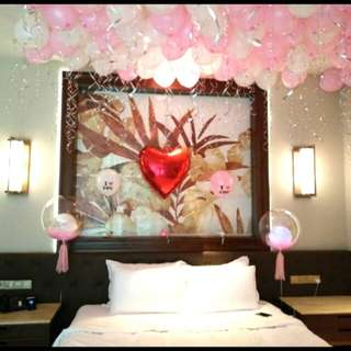 Valentine's day surprise balloon stop for hotel room