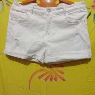 Berskha denim ripped white shorts