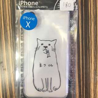 apple iphone X  bumper case 透明底  4邊軟  硬底 ネコさん #8 日本直送 新品