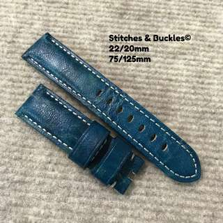 22/20mm Unique Blue Textured 'Deep Blue' Calf Leather Strap