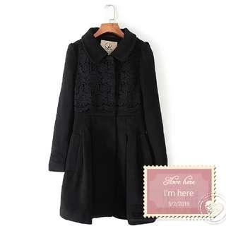 黑色 羊毛 絨褸 大衣外套
