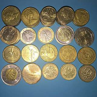 High Value Coins - Australia Dollars, New Zealand Dollars,Euros,Canada dollars,Great Britain Pounds - 54 coins