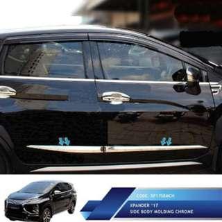 Mitsubishi Xpander List Pintu Samping Krom JSL  Side Body Molding. Warna : Silver. Berat : 2,5kg.