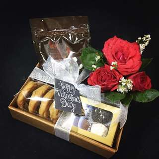 valentines gift by cake with joy