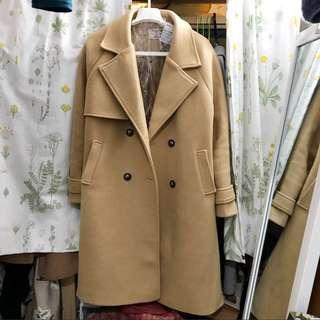 韓國杏色絨大褸大衣復古文青韓風 Korea Coat