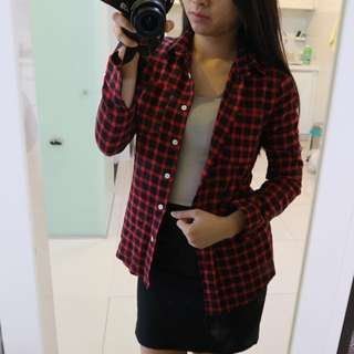 Red Checkered Flannel Jacket/Outerwear