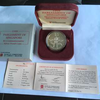 1999 Parliament of Spore $5 Silver Proof Coin