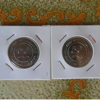 1920 & 1921 Straits Settlements Singapore 50 cents silver coin(1)