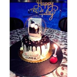 生日cake 情人節禮物 滴漏水晶球蛋糕