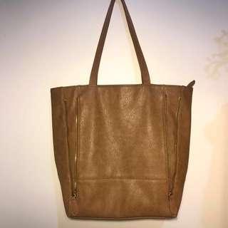 Brown Tan Leather Tote Bag