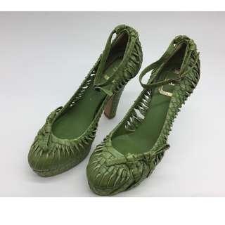 Christian  Dior Snake Skin Green Platforms Heels - Christian  Dior 綠色蛇皮防水台高跟鞋