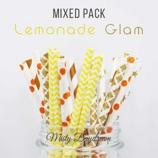 25pc LEMONADE GLAM Mixed Color Straws