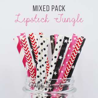 25pc LIPSTICK JUNGLE Mixed Color Straws
