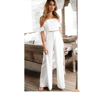 White off shoulder top pants terno